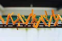 Cloth peg. Wooden cloth pegs are ready for use on the hanging line Stock Photography