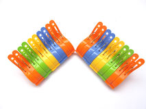 Cloth Pegs. Colorful cloth pegs isolated on white Stock Photography