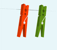 Cloth pegs Stock Image