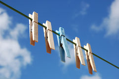 Cloth pegs. With a under the sky . A blue peg distinct from the other Stock Photo