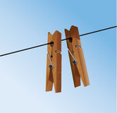 Cloth pegs with a under the sky Stock Photo