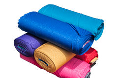 The cloth rolls. The colorful cloth rolls in white background Stock Photos