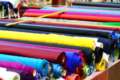 Cloth rolls. Lots of colourful cloth rolls Stock Images
