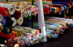 Cloth rolls in market in Birmingham. City center Royalty Free Stock Photography