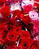 Cloth roses. A bunch of fake roses made from cloth, fabric Royalty Free Stock Photography