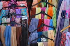 Cloth Sale in Pistoia. This is an image of a display of cloth for sale in Pistoia, Italy Royalty Free Stock Images