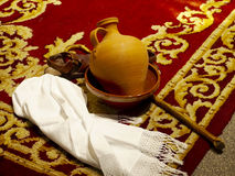 Cloth, sandals, jug and sheephook stock images