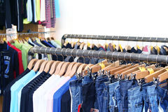 Jeans and Shirts in Shop Royalty Free Stock Photography