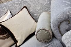 Cloth sofa handle and pillow Royalty Free Stock Photos