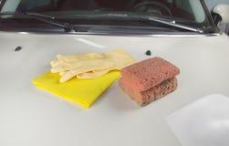 Cloth and sponge Stock Photo