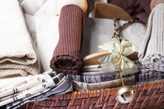 Cloth Tablecloths. And napkins with brown of different shades Stock Photo