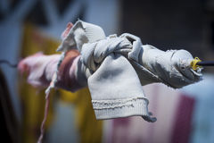 Cloth tied on a wire. Royalty Free Stock Image