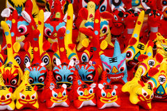 Cloth tigers. This year is the Year of the Tiger. People often buy some cartoon tigers to home to celebrate Chinese New Year(Spring Festival). Chinese character Royalty Free Stock Images