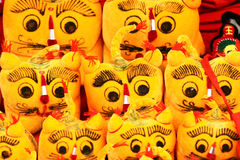 Cloth tigers. This year is the Year of the Tiger. People often buy some cartoon tigers to home to celebrate Chinese New Year(Spring Festival Royalty Free Stock Photography