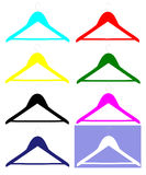 Clothe hangers. Clothe hanger. Set of different colors clothe hangers Royalty Free Stock Photo