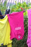 Clothes. It's a photo of a clothes drying in the wind Stock Photography