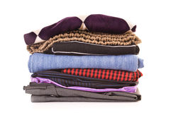Clothes. Stack of clothes on white background Stock Images