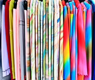 Clothes. Colorful female clothes on display Royalty Free Stock Image