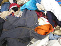 Clothes. Old used clothes collection for the poor Royalty Free Stock Images