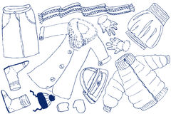 Clothes and accessories. Doodles (whinter). Vector illustration stock illustration
