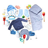 Clothes and accessories for babies in heart shape stock photo