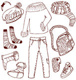 Clothes and accessories doodles. (winter-autumn royalty free illustration