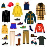 Clothes and accessories Fashion big icon set. Men clothes vector illustration icon set. EPS stock illustration