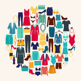 Clothes and accessories Fashion icon set. Stock Image