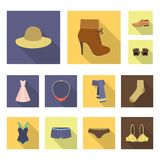 Clothes and accessories flat icons in set collection for design. Shoes and decoration vector symbol stock web. Clothes and accessories flat icons in set Stock Image