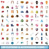 100 clothes and accessories icons set. In cartoon style for any design illustration stock illustration