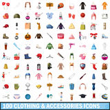 100 clothes and accessories icons set. In cartoon style for any design vector illustration Stock Photos