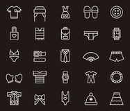 Clothes and accessories icons. Set of white outline icons on black background relating to clothes and accessories Stock Image