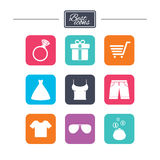 Clothes, accessories icons. Shopping signs. Royalty Free Stock Photos
