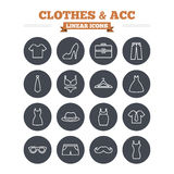 Clothes and accessories linear icons set. Thin Royalty Free Stock Photography