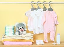 Clothes and accessories for newborn stock photography