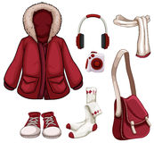 Clothes and accessories in red color. Illustration Stock Photo