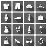 Clothes accessories shoes icons set Royalty Free Stock Photography