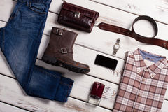 Clothes and accessories of stylish man. Royalty Free Stock Photo