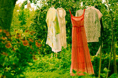 Clothes in the air Royalty Free Stock Photography