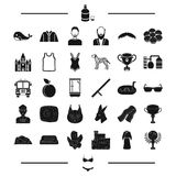 Clothes, animal, award and other web icon in black style. prize, appearance, hair, travel icons in set collection. Clothes, animal, award and other  icon in Stock Images