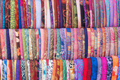 Clothes. The background of colorized clothes with decorative pattern Stock Photography