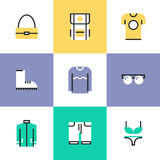 Clothes and bags pictogram icons set Royalty Free Stock Image