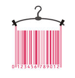 Clothes in barcode. Clothes hanger as stylized barcode Royalty Free Stock Image
