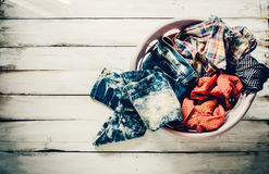 Clothes in the basket waiting to wash. Royalty Free Stock Photo