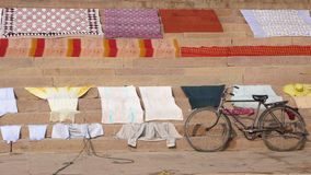 Clothes. Bicycle. Varanasi. India Stock Photography