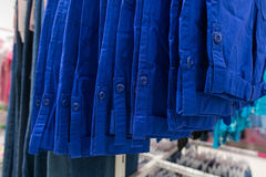 Clothes in blue tones. Blue shirts. Blue color. Stock Images
