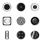 Clothes button accessory icon set, simple style Stock Photography