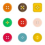 Clothes button icon set, flat style. Clothes button icon set. Flat set of 9 clothes button vector icons for web isolated on white background stock illustration