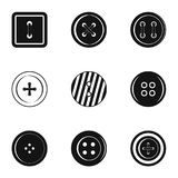 Clothes button icon set, simple style. Clothes button icon set. Simple set of 9 clothes button vector icons for web isolated on white background Stock Images