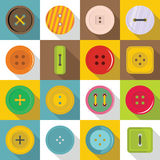 Clothes button icons set, flat style Stock Photography
